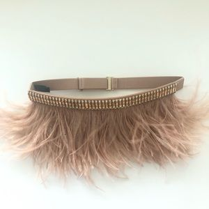 Bcbg feathers and crystals belt size 0S stretch